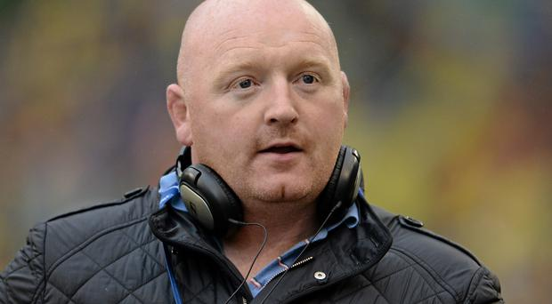 18 May 2013; Former Leinster and Ireland player Bernard Jackman, and current coach at FCG Grenoble, in his role at pitchside reporter with Newstalk.