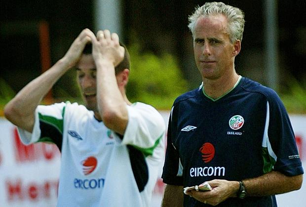 Ireland manager Mick McCarthy and team captain Roy Keane pictured training in Saipan in 2002