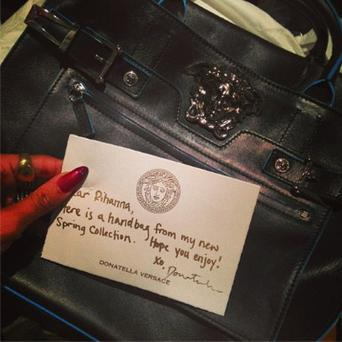 Christmas comes early - with a new season bag from BFF Donatella Photo: Rihanna / Instagram