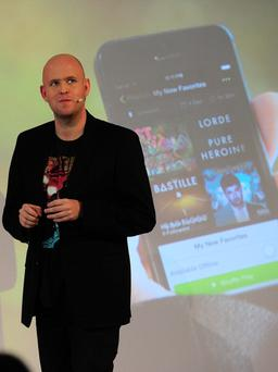 Spotify founder and CEO Daniel Ek addresses a press conference in New York