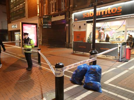 The scene of the non fatal stabbing at North Earl St tonight