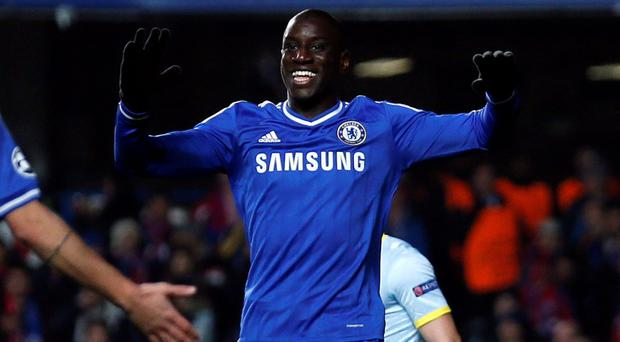 Chelsea's Demba Ba celebrates after scoring a goal against Steaua Bucharest during their Champions League soccer match at Stamford Bridge in London