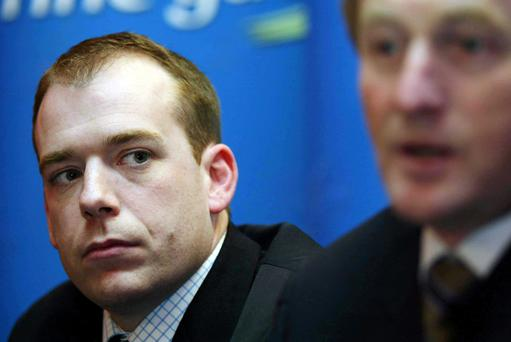 Cllr Darren Scully (left) pictured with Fine Gael leader Enda Kenny at the announcement of the party candidates for Kildare North in 2005