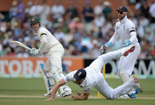Australia captain hits past England captain Alastair Cook