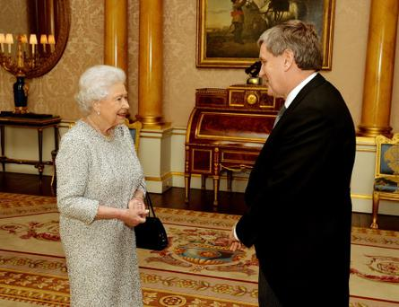 The Ambassador of Ireland Mr Daniel Mulhall, during a private audience with Queen Elizabeth II at Buckingham Palace in central London.