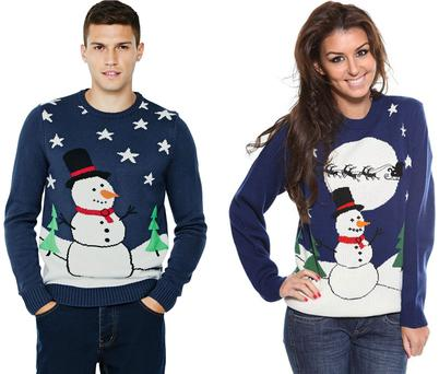 The Littlewoods Christmas jumper (left) and the Zatori Christmas jumper (right).