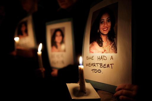 Protestors outside Leinster House, Dublin, in memory of Savita Halappanavar, who died on October 28 2012