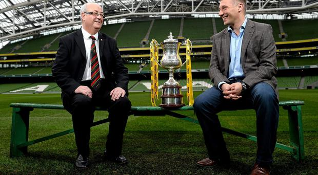 11 December 2013; Shamrock Rovers manager Trevor Croly, right, and Glentoran FC director Aubry Ralph after both teams were drwan against each other in the Setanta Sports Cup draw for the 2013/2014 season. Aviva Stadium, Lansdowne Road, Dublin. Picture credit: David Maher / SPORTSFILE