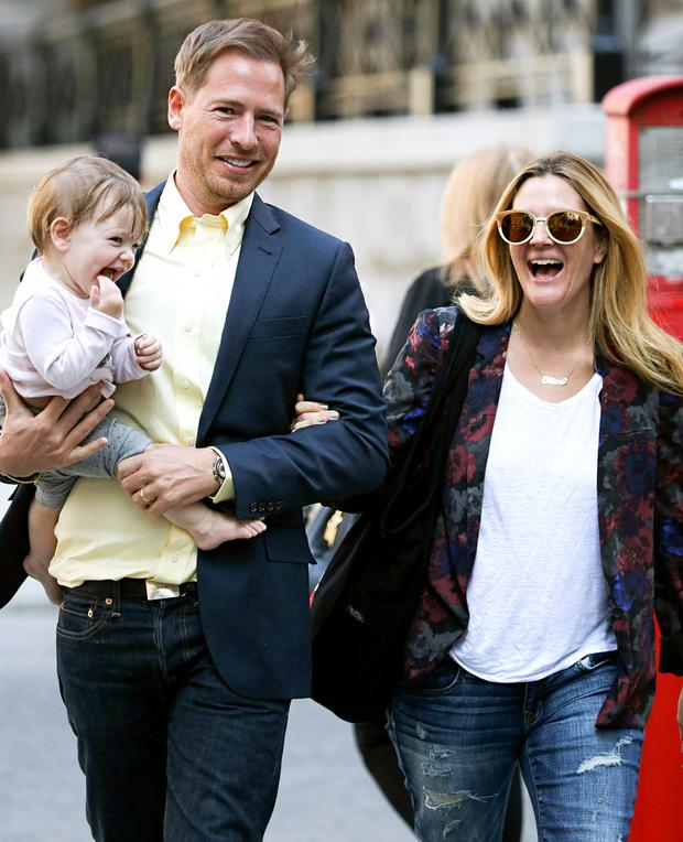 Drew Barrymore, Will Kopleman and Ollive pictured in 2013