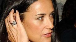 Demi Moore supposedly faced danger of running into Ashton Kutcher at an Oscars party.