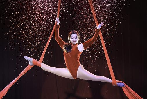 Performer Wang Dan during a celebration of Fossett's Circus 125th birthday. Photo: Gareth Chaney Collins