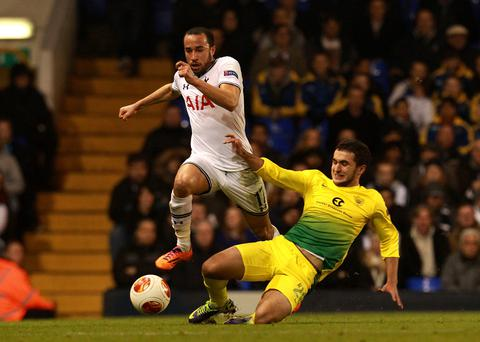 Tottenham Hotspur's Andros Townsend (left) skips past Anzhi Makhachkala's Serder Serderov during the UEFA Europa League match at White Hart Lane, London. Photo Sean Dempsey/PA Wire