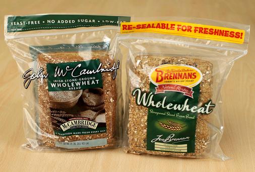 The two wholewheat bread packaged products.