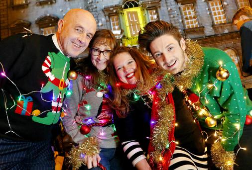 Celebrities Light Up Their Christmas Outfits in Aid of the Simon Communities Pictured were Louis Copeland, Pauline McLynn, journalist, Roisin Ingle and tv presenter, Stephen Byrne.