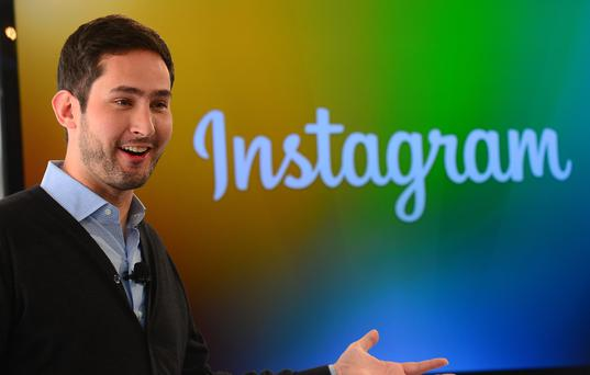 Instagram co-founder Kevin Systrom addresses a press conference in New York