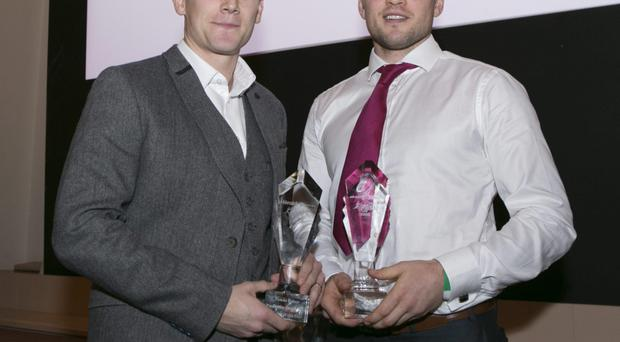 Conal Keaney Hurler of the Year with Tomas Quinn Footballer of the Year at the annual Dubstar awards Ceremony in The Westin Hotel