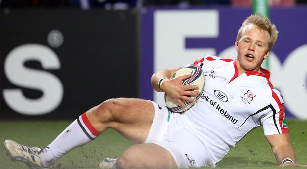 Ulster's Luke Marshall scores a try at Ravenhill