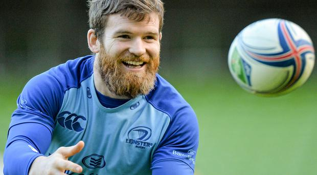 Gordon D'Arcy in action during Leinster training ahead of this tonight's game against Northampton MATT BROWNE / SPORTSFILE