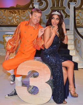 Alan Hughes and Nadia Forde promoting the panto