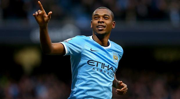 Manchester City's Luis Fernandinho celebrates scoring his side's fifth goal