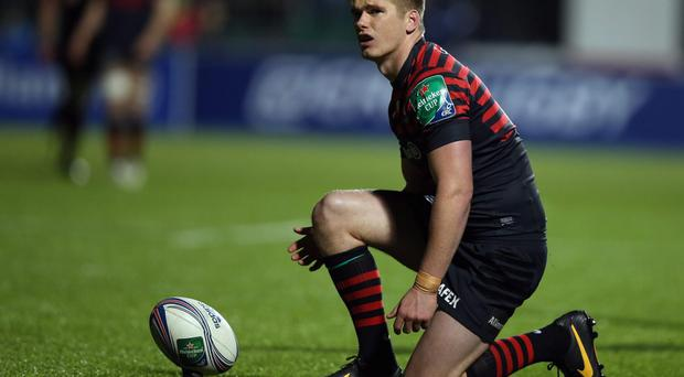 Owen Farrell of Saracens prepares to take a kick during the match between Saracens and Zebre