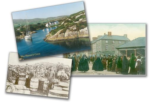 TRIP DOWN MEMORY LANE: From top: A postcard of Heron's Cove, Goleen; a card from the Adrian Healy collection showing a market-day scene on George Street, Clonakilty (George Street is now Connolly Street); a postcard capturing a Baltimore fish market in full swing, also included in Perry O'Donovan's anthology