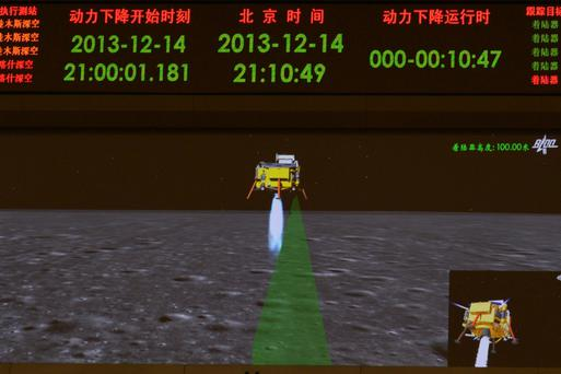 A photograph taken on a giant screen at the Beijing Aerospace Control Center in Beijing shows an animated image of the Chang'e-3 lunar probe descending onto the surface of the moon