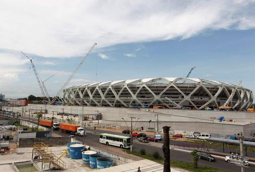 The Arena Amazonia stadium under construction to host several 2014 World Cup soccer games