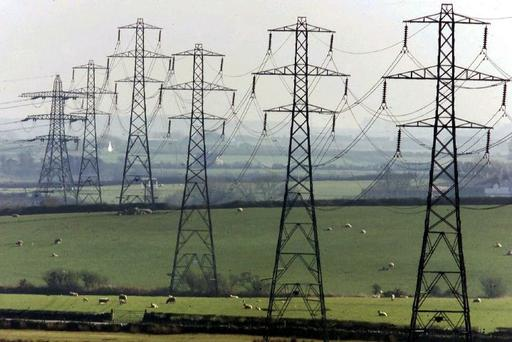Electricity pylons across the countryside