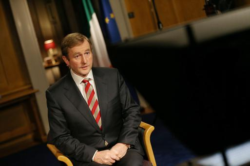 Taoiseach Enda Kenny during the televised National Address in his offices in Government Buildings,Dublin.
