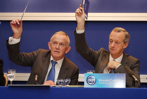 Leslie Buckley, INM chairman (left), and Vincent Crowley, INM chief executive. FRANK McGRATH