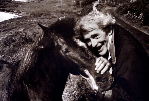 Peter O'Toole ,a native of Roundstone in Co.Galway on his 52nd birthday pictured with one of his Connemara ponies at his home on the Sky road, Clifden, Co.Galway. Photo: Tom Burke