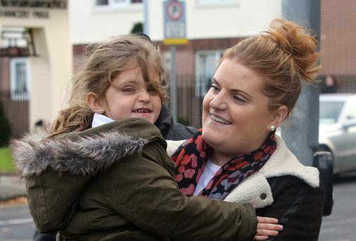 Vanessa Behan, of The Richmond, North Brunswick Street, Dublin, pictured leaving court with her daughter, Robyn. Photo: Collins