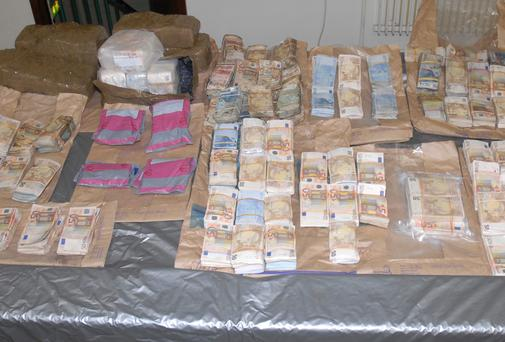 The cash seized during an organised crime operation at Portcrusha, Co. Limerick