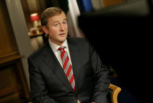 Taoiseach Enda Kenny during the televised National Address in his offices in Government Buildings