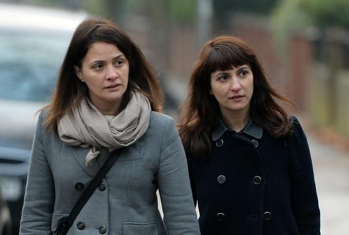 Sisters Elisabetta (left) and Francesca Grillo, former personal assistants to Charles Saatchi and Nigella Lawson arriving at Isleworth Crown Court in west London