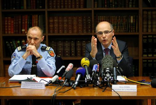 Marseille' State Prosecutor Brice Robin, right, and Lieutenant-Colonel Patrick Bourguignon of the National Gendarmerie, speak with media yesterday