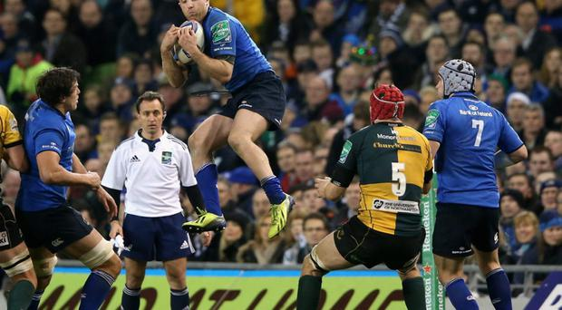 Luke Fitzgerald of Leinster catches the ball during the match between Leinster and Northampton Saints