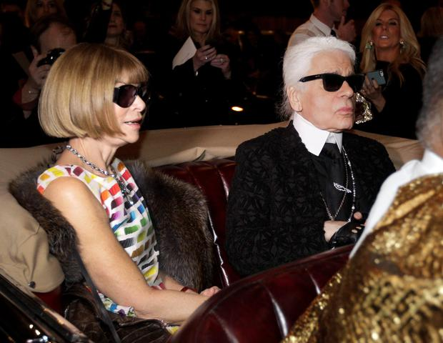 Last Tuesday, Karl Lagerfeld took over the Texas State Fair and shipped 900 guests (including Anna Wintour) across the world to present his latest collection for the house of Chanel. (AP Photo/Tony Gutierrez)