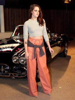 Actress Kristen Stewart of Twilight fame arrives for the Chanel's Metiers d'Art fashion show in Dallas. (AP Photo/Tony Gutierrez)
