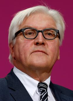 Frank-Walter Steinmeier, designated German Foreign Minister of the Social Democratic Party (SPD) attends a news conference in Berlin