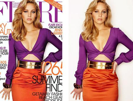 The before and after version of Jennifer's Flare cover