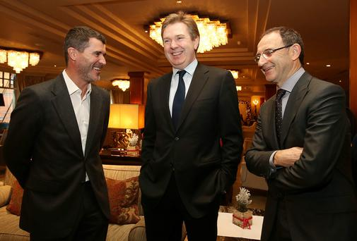 Pictured at the Irish Independent Sportstar of the year lunch in the Westbury Hotel yesterday were Republic of Ireland Asst Manager Roy Keane, with Stephen Rae, Editor in Chief, Irish Independent, Sunday Independent and the Evening Herald, and Martin O'Neill, Republic of Ireland Soccer Manager. Photo: Frank Mc Grath