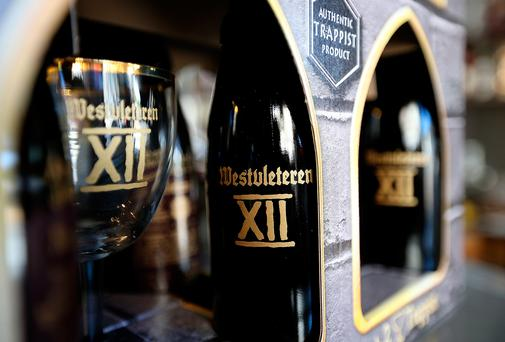 A six-pack of Westvleteren 12 is displayed at Ales Unlimited on December 12, 2012 in San Francisco, California.