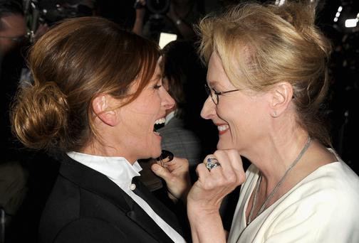 ACTRESSES Julia Roberts and Meryl Streep at the premiere of 'August: Osage County'