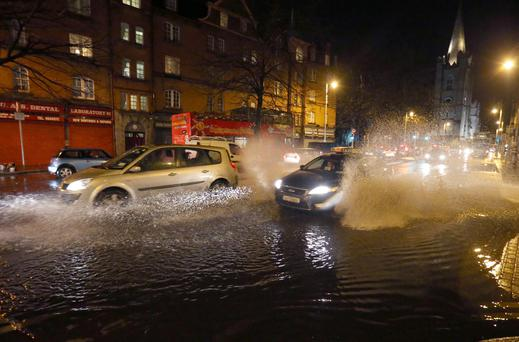 Floods on Clanbrassil Street due to heavy rain. Picture credit; Damien Eagers