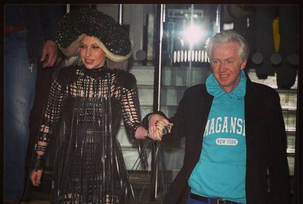 Lady Gaga - wearing Margaret O'Connor's hat - to the Isabella Blow Exhibition in London last week accompanied by Irish milliner, Philip Tracey.