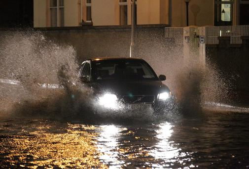 Flooding in Monkstown Co Dublin yesterday evening. Photo: Stephen Collins/Collins