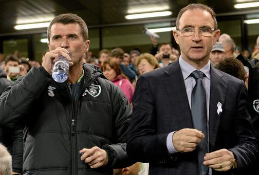 Republic of Ireland v Latvia - Three International Friendly...15 November 2013; Republic of Ireland manager Martin O'Neill, right, and assistant manager Roy Keane before the game. Three International Friendly, Republic of Ireland v Latvia, Aviva Stadium, Lansdowne Road, Dublin. Picture credit: David Maher / SPORTSFILE...ABC