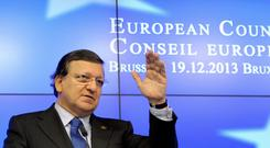 European Commission President Jose Manuel Barroso addresses a news conference during a European Union leaders summit in Brussels on Thursday. Photo: Reuters